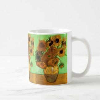 Florero con los girasoles, bella arte floral de taza