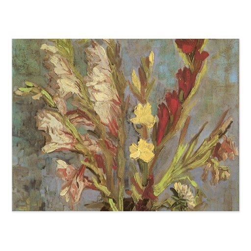 Florero con los gladiolos de Vincent van Gogh Tarjeta Postal