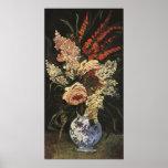Florero con los gladiolos y la lila de Vincent van Posters