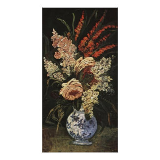 Florero con los gladiolos y la lila de Vincent van Póster