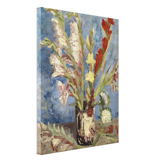 Florero con los gladiolos y los asteres chinos de lona estirada galerias