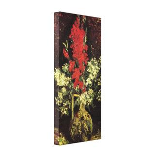 Florero con los gladiolos y los claveles de Van Go Impresiones En Lienzo Estiradas