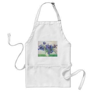 Florero con los iris, bella arte floral de Van Delantal