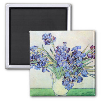 Florero con los iris, bella arte floral de Van Imán Cuadrado
