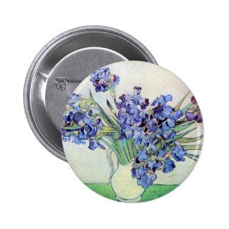 Florero con los iris, bella arte floral de Van Pin Redondo De 2 Pulgadas