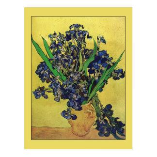 Florero con los iris de Van Gogh Tarjetas Postales