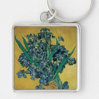 Florero con los iris, fondo amarillo de Van Gogh Llavero Cuadrado Plateado