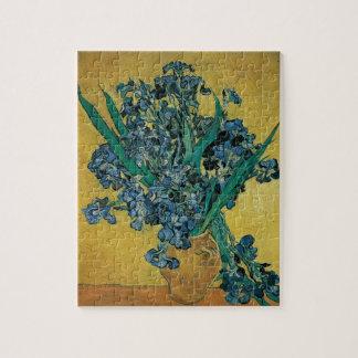 Florero con los iris, fondo amarillo de Van Gogh Puzzle Con Fotos
