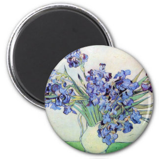 Florero con los iris, todavía del vintage arte de imán redondo 5 cm