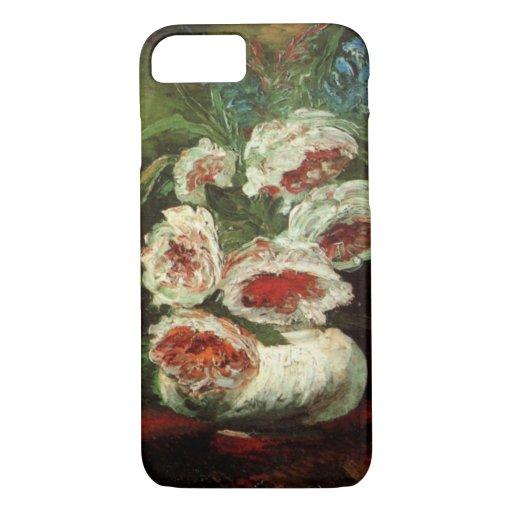 Florero con los Peonies, bella arte de Van Gogh Funda iPhone 7