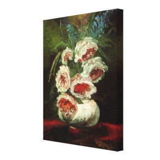 Florero con los Peonies, bella arte de Van Gogh Lona Envuelta Para Galerías