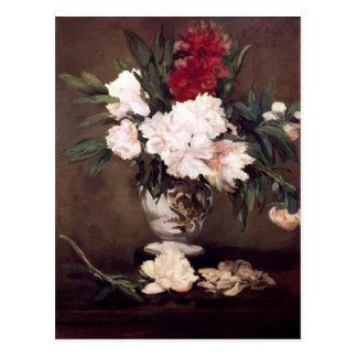 Florero con los Peonies de Édouard Manet Postales