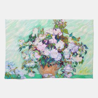 Florero con los rosas de Vincent van Gogh Toallas De Mano