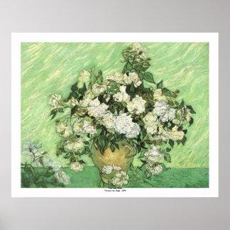 Florero con los rosas de Vincent van Gogh Póster