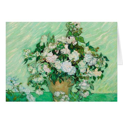 Florero con los rosas de Vincent van Gogh Tarjeton