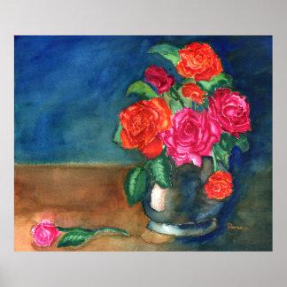 Florero con los rosas póster