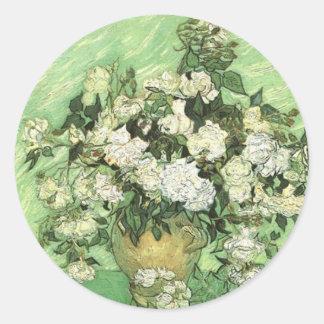 Florero con los rosas, Vincent van Gogh 1890 Pegatina Redonda