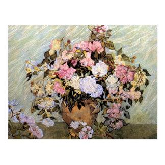 Florero con los rosas Vincent van Gogh Tarjetas Postales