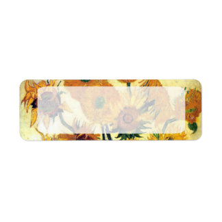Florero con quince girasoles de Vincent van Gogh Etiquetas De Remite