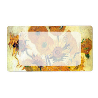 Florero con quince girasoles de Vincent van Gogh Etiquetas De Envío