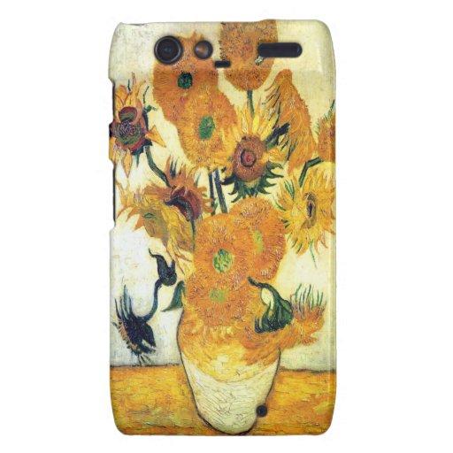 Florero con quince girasoles de Vincent van Gogh Motorola Droid RAZR Fundas