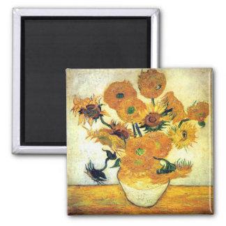 Florero con quince girasoles de Vincent van Gogh Imán Cuadrado
