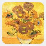 Florero con quince girasoles de Vincent van Gogh Pegatina Cuadrada