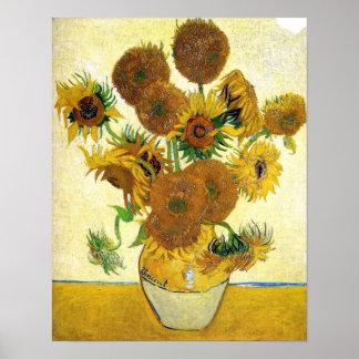 Florero con quince girasoles de Vincent van Gogh Póster
