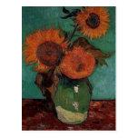 florero con tres girasoles, Van Gogh Postal