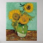 Florero con tres girasoles, Vincent van Gogh Posters