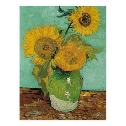 Florero con tres girasoles, Vincent van Gogh Postales