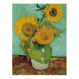 Florero con tres girasoles Vincent van Gogh Postal