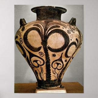 Florero con una decoración floral de Mycenae Poster
