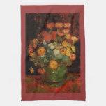 Florero con Zinnias de Vincent Willem Van Gogh Toalla De Cocina