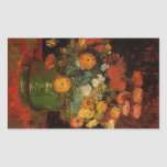 Florero con Zinnias de Vincent Willem Van Gogh Rectangular Pegatinas