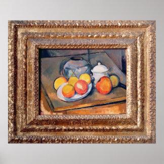 florero cuenco de azúcar y manzanas Paja-cubierto Poster