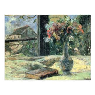 Florero de flores en la ventana - 1881 postal