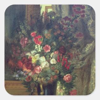 Florero de flores en una consola, 1848-49 pegatina cuadrada