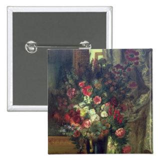 Florero de flores en una consola, 1848-49 pin cuadrado