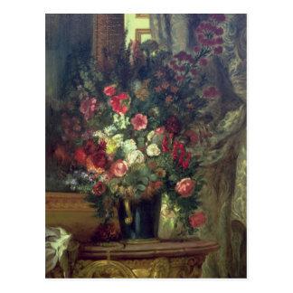 Florero de flores en una consola, 1848-49 postal