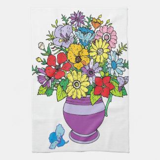Florero de flores toallas de mano
