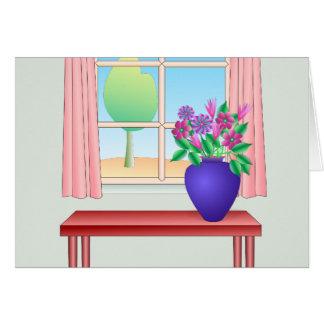 Florero de flores por la ventana tarjeta de felicitación