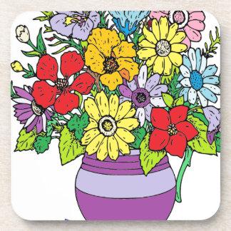 Florero de flores posavasos de bebida