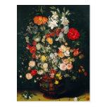 Florero de flores tarjeta postal