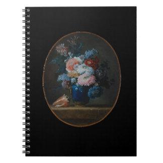 Florero de flores y del cuaderno 1780 de Shell de
