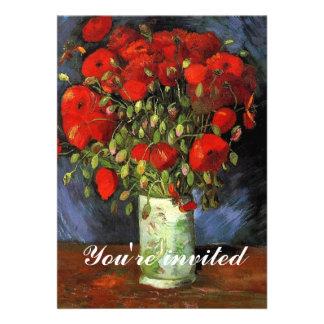 Florero de la invitación con las amapolas rojas
