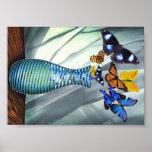 Florero de la mariposa poster