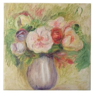 Florero de las flores (aceite en lona) azulejo cuadrado grande