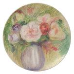 Florero de las flores (aceite en lona) plato para fiesta