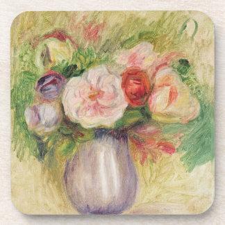 Florero de las flores (aceite en lona) posavasos de bebida